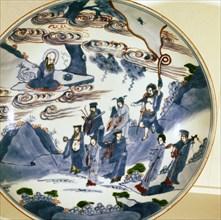 The immortals visit Shou-Lao, god of Longevity, Porcelain dish, 17th century.  Artist: Unknown.