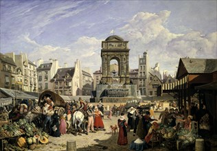 'Market and Fountain of the Innocents', Paris, 1823. Artist: John James Chalon