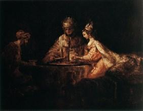 'Assuerus, Haman and Esther', 1660. Artist: Rembrandt Harmensz van Rijn
