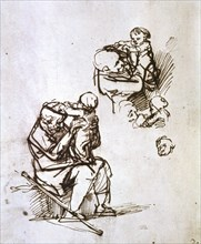 'Old Man Playing with Child', 1635-1640. Artist: Rembrandt Harmensz van Rijn
