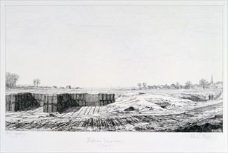 Prussian battery, Siege of Paris, 1870-1871. Artist: Paul Roux