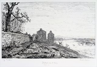 Battery of St Ouen, Siege of Paris, 1870-1871. Artist: Paul Roux
