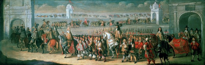 Charles II Processing from the Tower of London to Westminster, 22 April 1661. Artist: Dirck Stoop