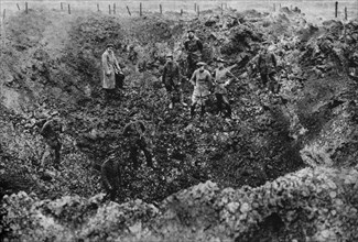 A crater caused by the explosion of a mine, Western Front, 1917. Artist: Unknown