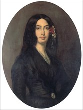 'George Sand', French novelist and early feminist, c1845. Artist: Auguste Charpentier