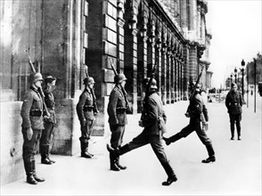 German soldiers on guard duty outside the Hotel Crillon, Paris, 7 October 1940. Artist: Unknown