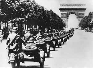 German soldiers on the Champs Elysees, Paris, 14 June 1940. Artist: Unknown