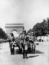 German military parade along the Champs Elysees during the occupation, Paris, 1940-1944. Artist: Unknown