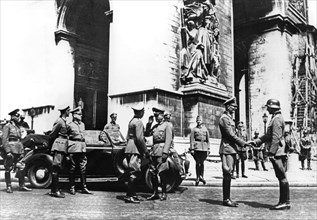 German officers at the Arc de Triomphe during the victory parade, Paris, June 1940. Artist: Unknown