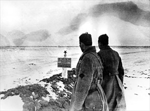 Mass grave of Russian soldiers, Stalingrad front, Russia, January 1943. Artist: Unknown