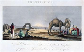 Dominique Vivant Denon at work in the desert, Upper Egypt, 1802 Artist: B Comte