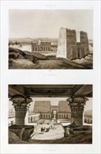 Temple facade and interior, Edfu, Egypt, 1841. Artist: Himley
