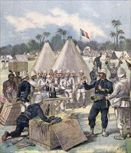 French soldiers opening New Year's gift boxes in Dahomey, Africa, 1892. Artist: Henri Meyer