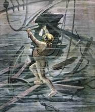 A diver searching a wreck in La Havre harbour, France, 1892. Artist: Henri Meyer