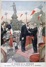 Jules Dalou being awarded with the medal of the Legion of Honour by Emile Loubet, 1899. Artist: Oswaldo Tofani