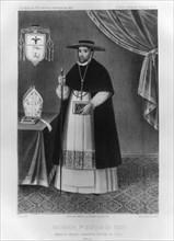 Vincente de Valverde, first Bishop of Cuzco, (1852).  Artist: Jacques Francois Gauderique Llanta