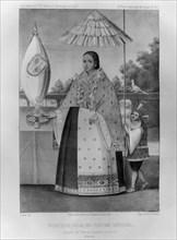 Inca princess, national costume, 1852. Artist: Jacques Francois Gauderique Llanta