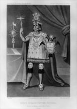 Inca prince, national costume, 1852. Artist: Jacques Francois Gauderique Llanta