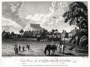 East view of Nottingham Castle, Nottinghamshire, 1777. Artist: William Watts
