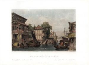 'Scene on the Honan Canal, near Canton', China, c1840.Artist: James B Allen