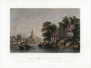 'Pagoda and Village, on the Canal near Canton', China, c1840.Artist: WH Capone