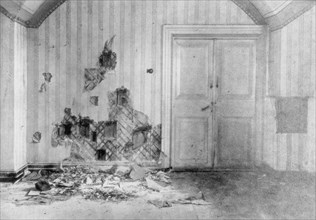 Room where Tsar Nicholas II and his family were executed, Yekaterinburg, Russia, July 17 1918. Artist: Unknown
