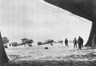 Departure of French Breguet planes for a reconnaissance mission during winter, 1914-1918. Artist: Unknown