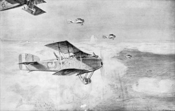 A French squadron of daytime bombers above a sea of clouds, 1918, (1926).Artist: Etienne Cournault