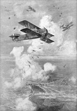 A Breguet French biplane bomber in action, c1917 (1926). Artist: Unknown