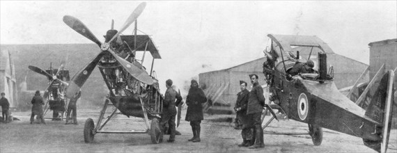 British Royal Flying Corps aircraft under repair, c1916. Artist: Unknown