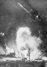 British air bombardment over the German lines, World War I, 1914-1918 (1926). Artist: Joseph Simpson