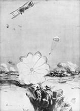 Aeroplane supplying ammunition to the British front line, World War I, 1914-1918 (1926). Artist: Joseph Simpson