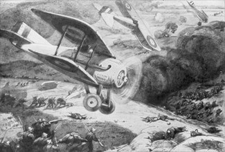 Air cavalry, attacking the infantry, 1918, (1926). Artist: Maurice Busset