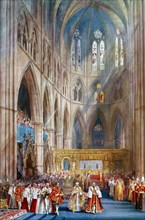 'The Recognition', George VI's coronation ceremony, Westminster Abbey, London, 12 May 1937.Artist: Henry Charles Brewer