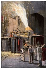 Decarburisation of pig iron in a Bessemer converter, 1900.Artist: Gehrke