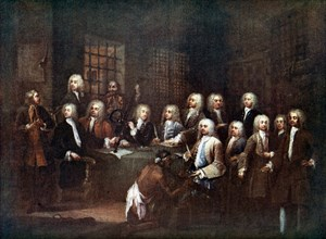 A Committee of the House of Commons at the Fleet Street Prison, London, 1729 (c1905). Artist: Unknown