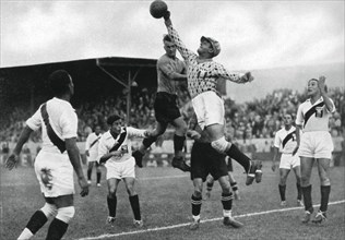 Peru's Olympic football team in action, Berlin Olympics, 1936. Artist: Unknown
