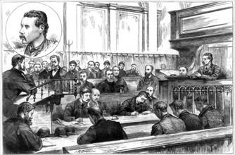 Examination of John F Egan at Birmingham police court, the dynamite plot, 1884. Artist: Unknown