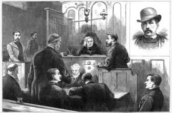 Examination of John Daly, alias Denman, at the Birkenhead police court, 1884. Artist: Unknown