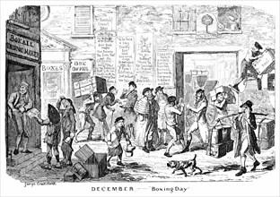 'December - Boxing Day', 19th century.Artist: George Cruikshank