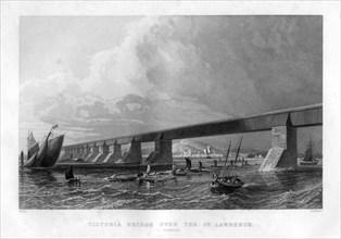 'Victoria Bridge over the St Lawrence, Canada', 1886. Artist: Saddler