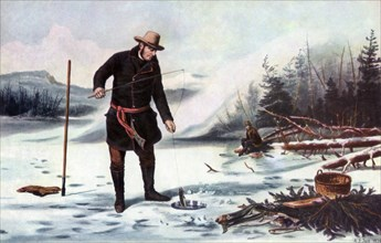 'Trout Fishing on Chateaugay Lake, American Winter Sports', 1856.Artist: Arthur Fitzwilliam Tait