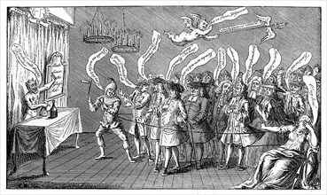 'The Magician or Bottle Cungerer. English Credulity: or, Ye're all Bottled', 1749. Artist: Unknown