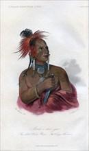 'Meach-o-shin-gaw, The Little White Bear, A Konza Warrior', 1848. Artist: Harris