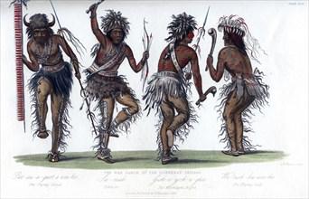 'The War Dance, by the Ojibbeway Indians', 1848.Artist: Harris