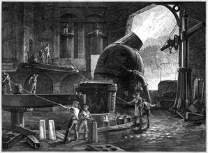 The Bessemer process for the mass-production of steel, c1880.Artist: CJB