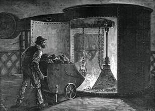 Charging a modern blast furnace, Govan Iron Works, Glasgow, c1880.Artist: WD Scott-Moncrieff