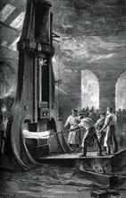 Nasmyth's steam hammer at work, (c1880). Artist: Roberts