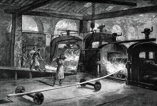 Rolling steel rails, c1880.Artist: Roberts