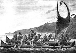 'A Canoe of the Sandwich Islands', late 18th century.Artist: Page